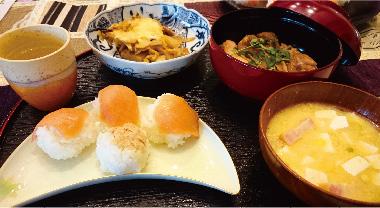 和食 手まり寿司・竹の子グラタン・照り焼きチキン・みそ汁